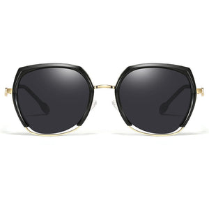 geometric black sunglasses with gold nose bridge