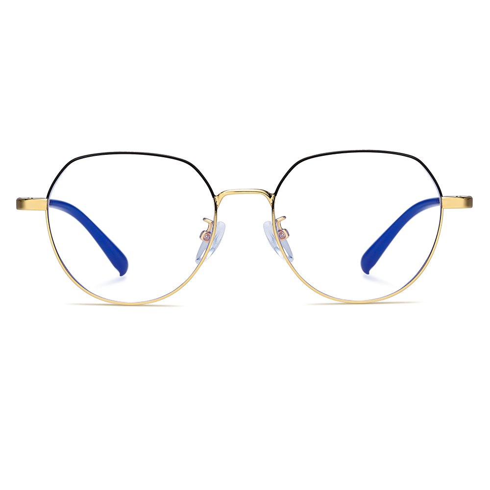 Geometric Round shape eyeglasses, half black and half gold wire frame