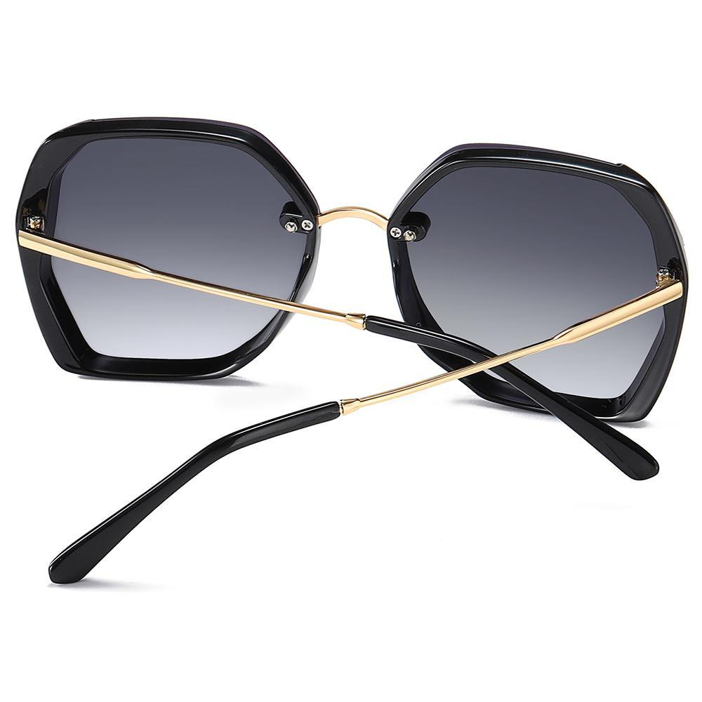 geometric shape sunshades with gold temple arms, black ending tips
