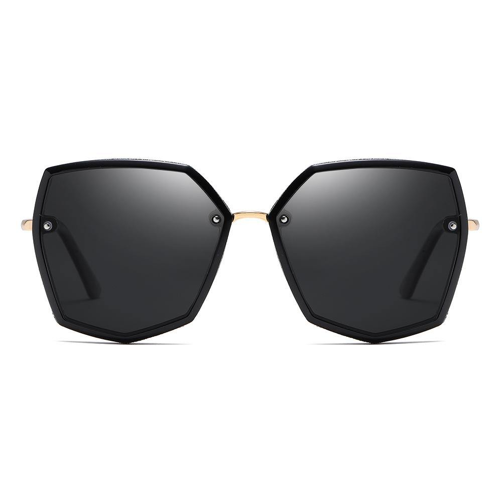 Hexagon Sunglass with Black Tint Lens and Gold Trimmed