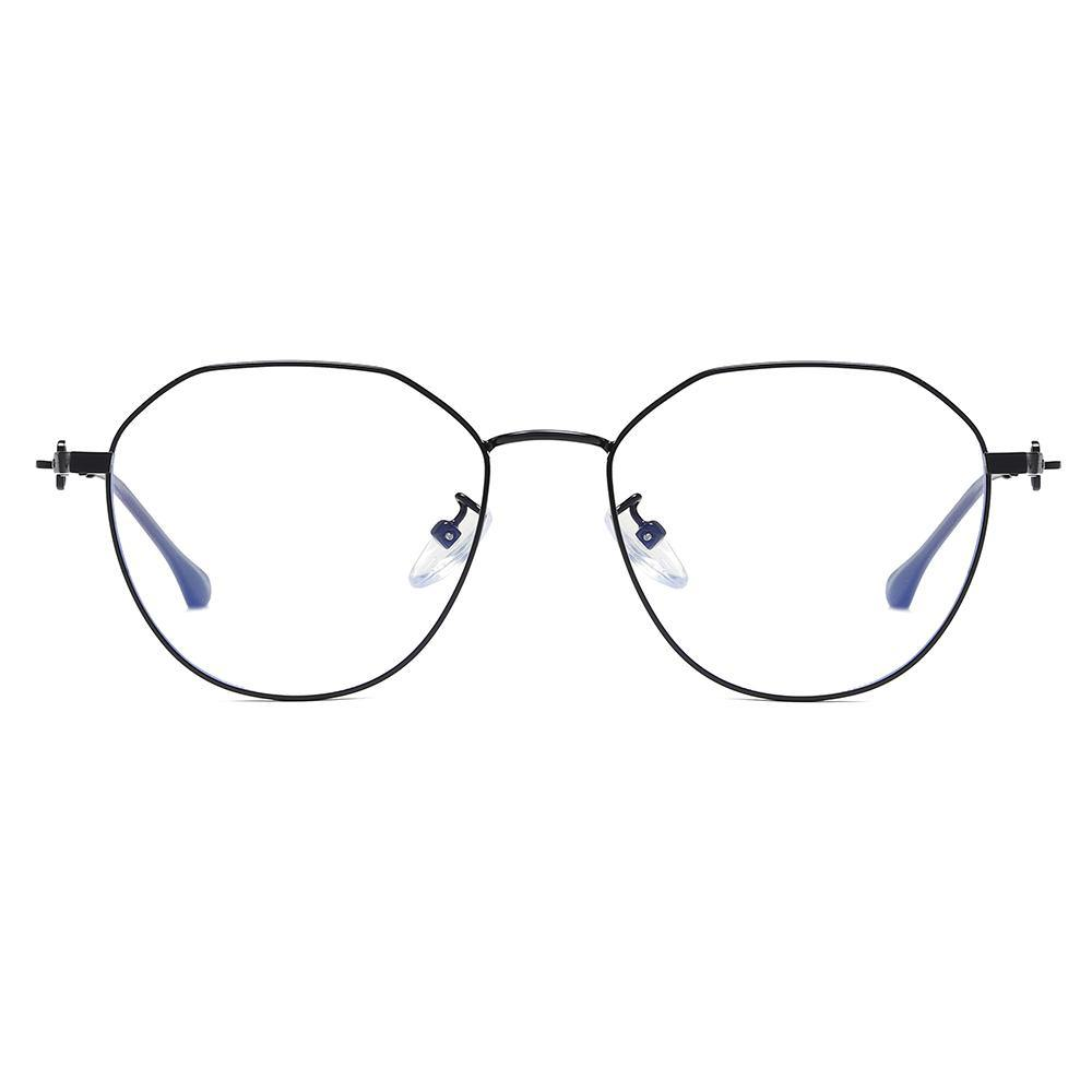 Geometric round black eyeglasses, thin wire frame