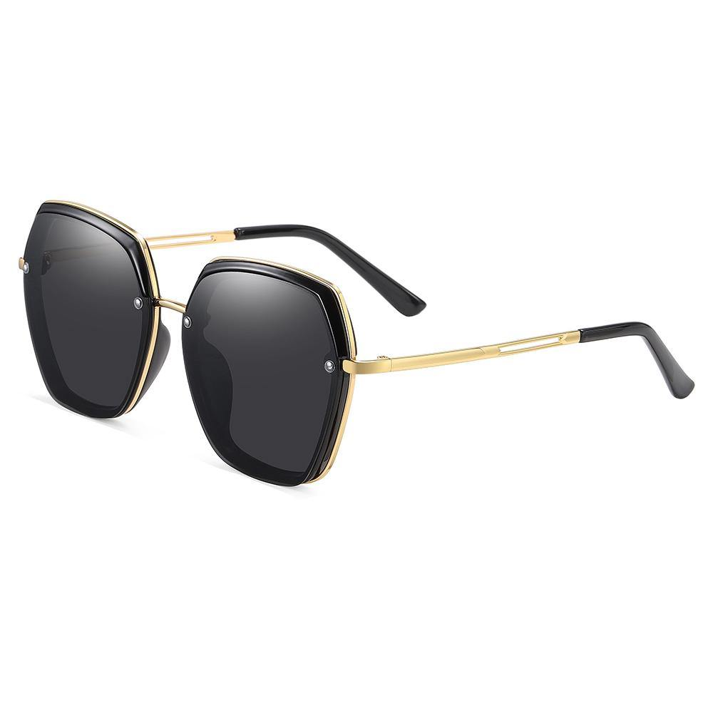 geometric sunglasses for women with gold temples and black ending tips, black lens