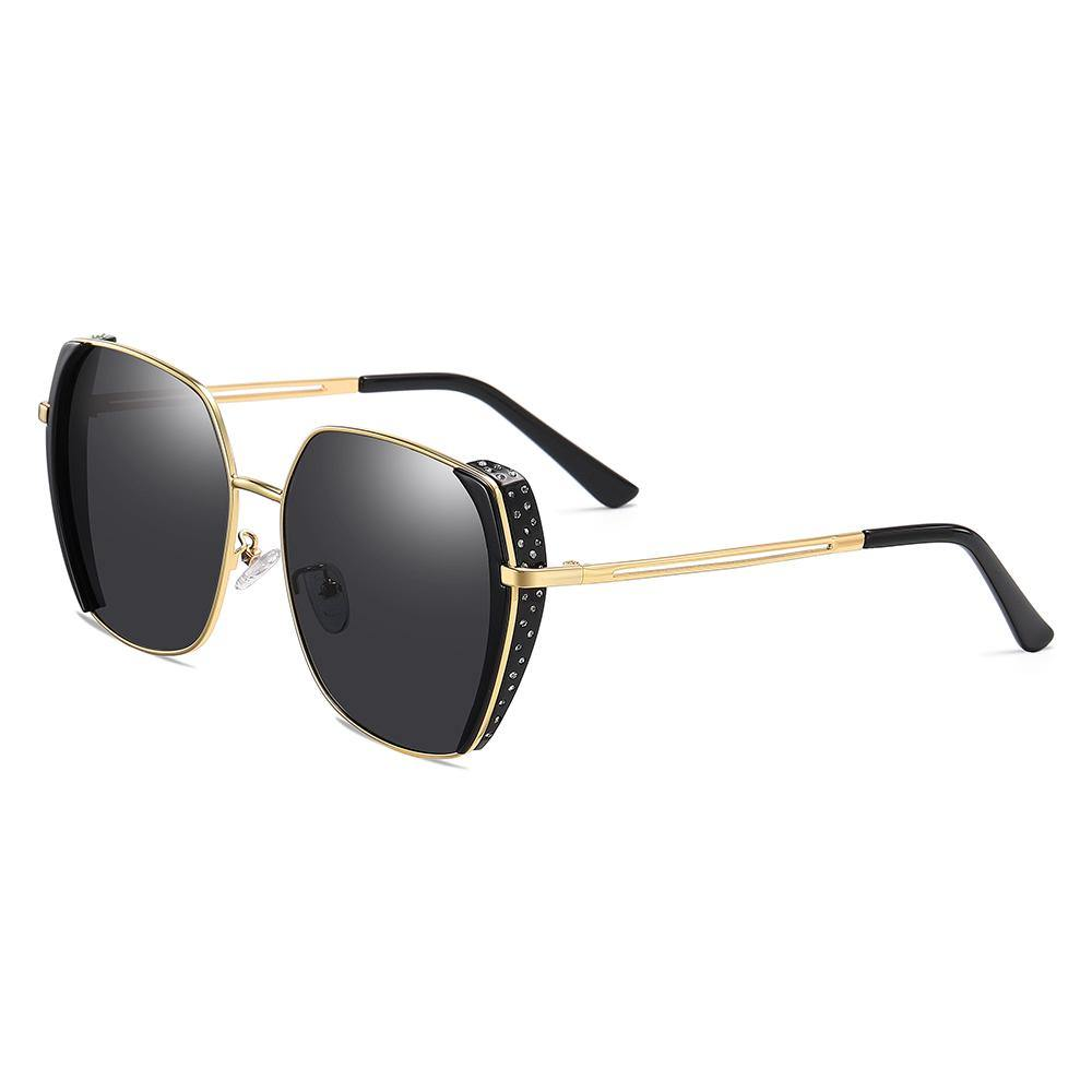 square sunglasses with diamond on side frame and gold temple arms