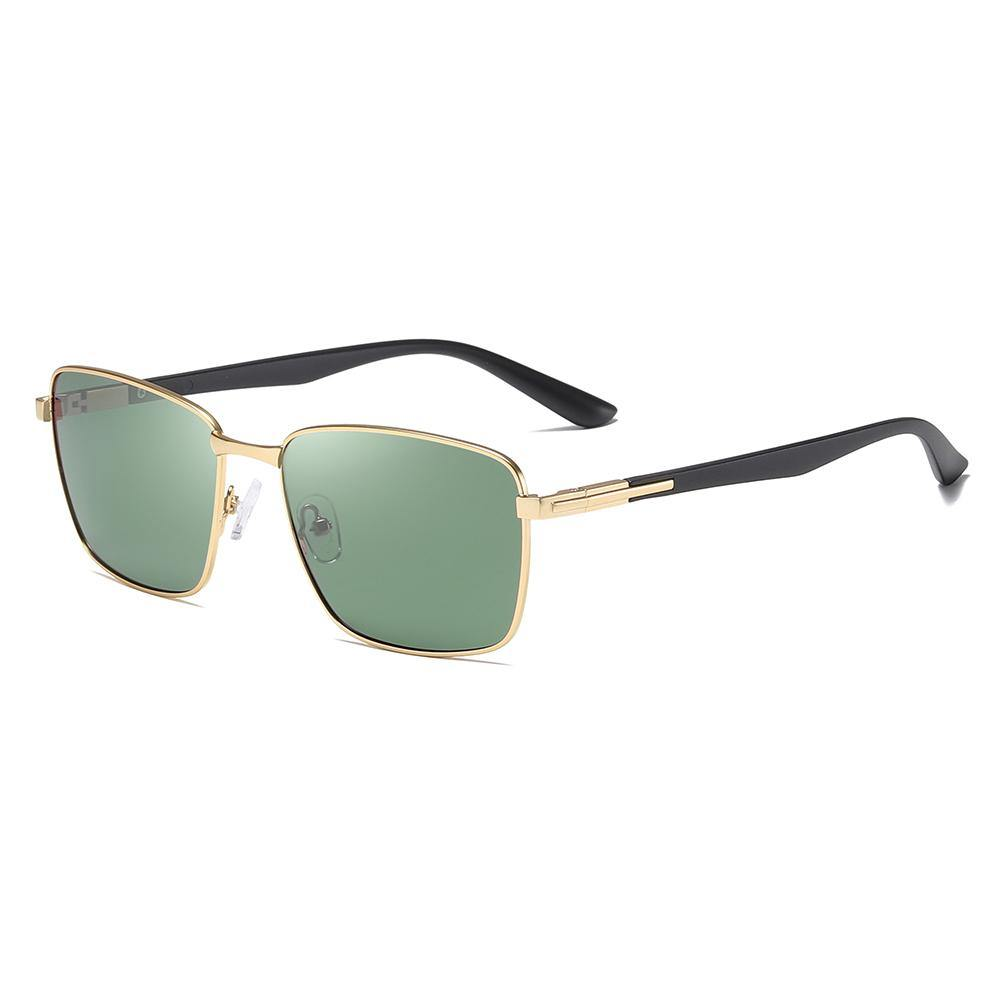 gold trimmed rectangle sunglasses has black temple arms