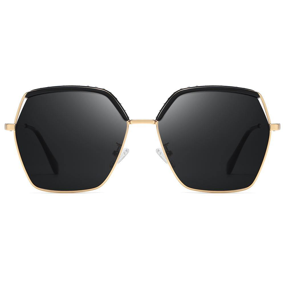 square hexagon shaped, black lens and frames, gold nose bridge and rim