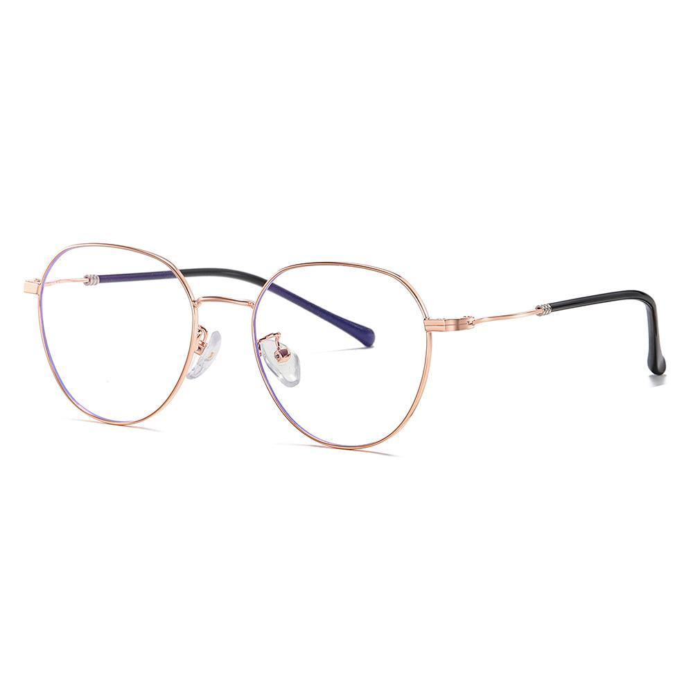 rose gold wire frame glasses round bottom shape