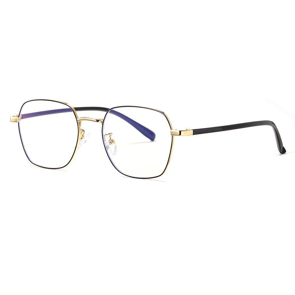square eyeglasses, black frames, gold endpieces, black temple arms
