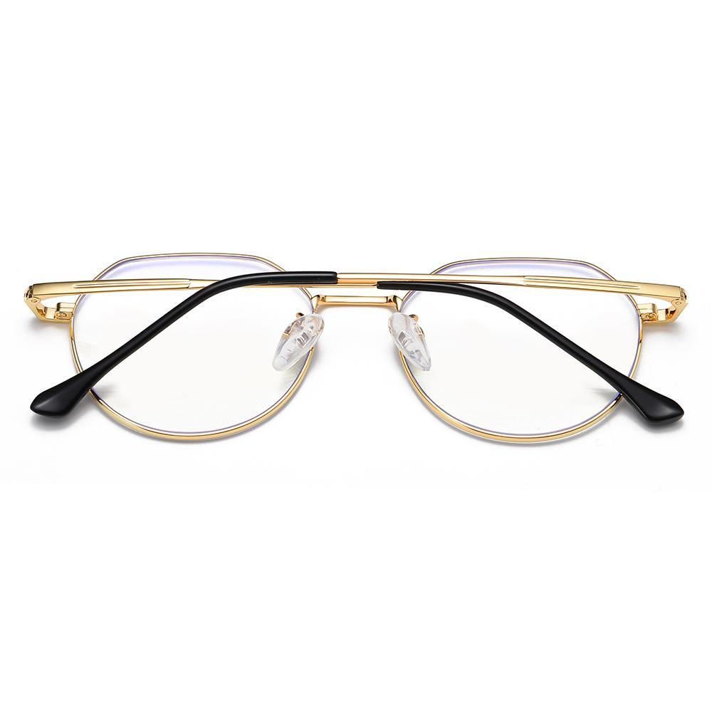 Gold frame eyeglasses and temple arms