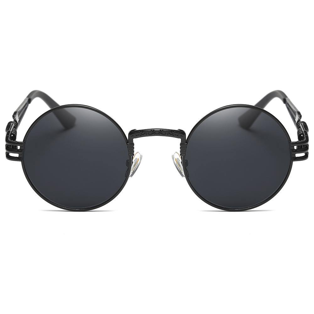 gothic steampunk style in small round shape frame, black tinted lens