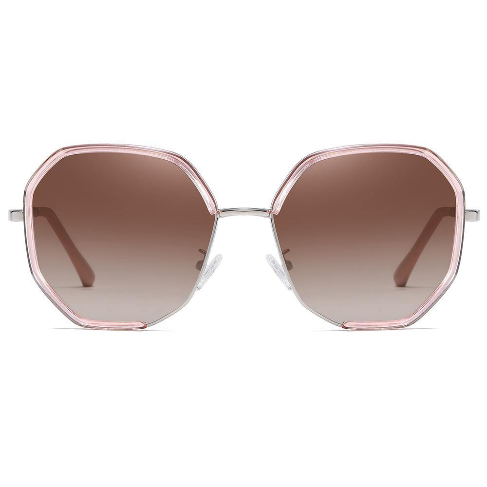 clear pink frame and brown gradient tint lens, geometric shape