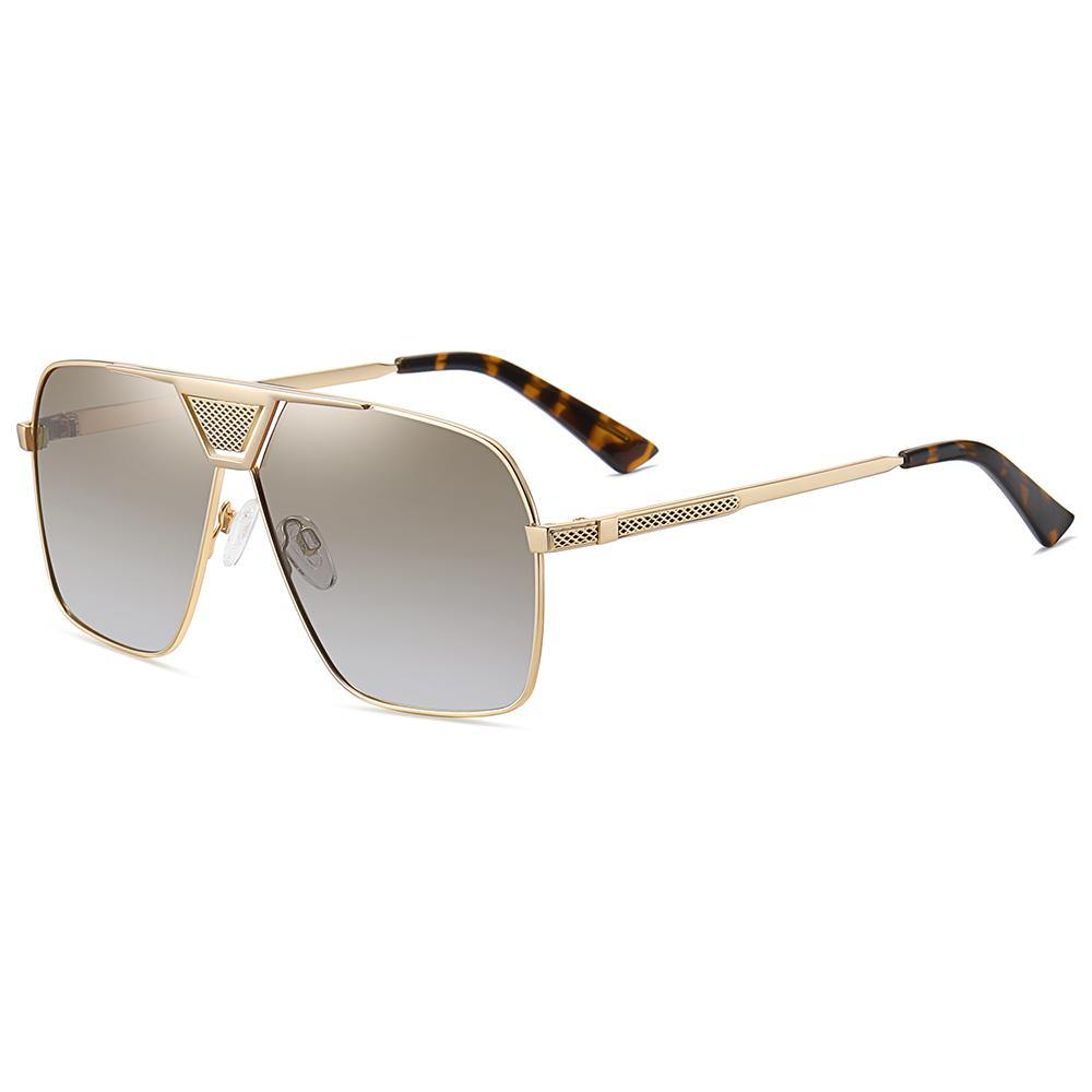 side view of sunshades with grey gradient lens color, gold temple arms with tortoise color ending tips