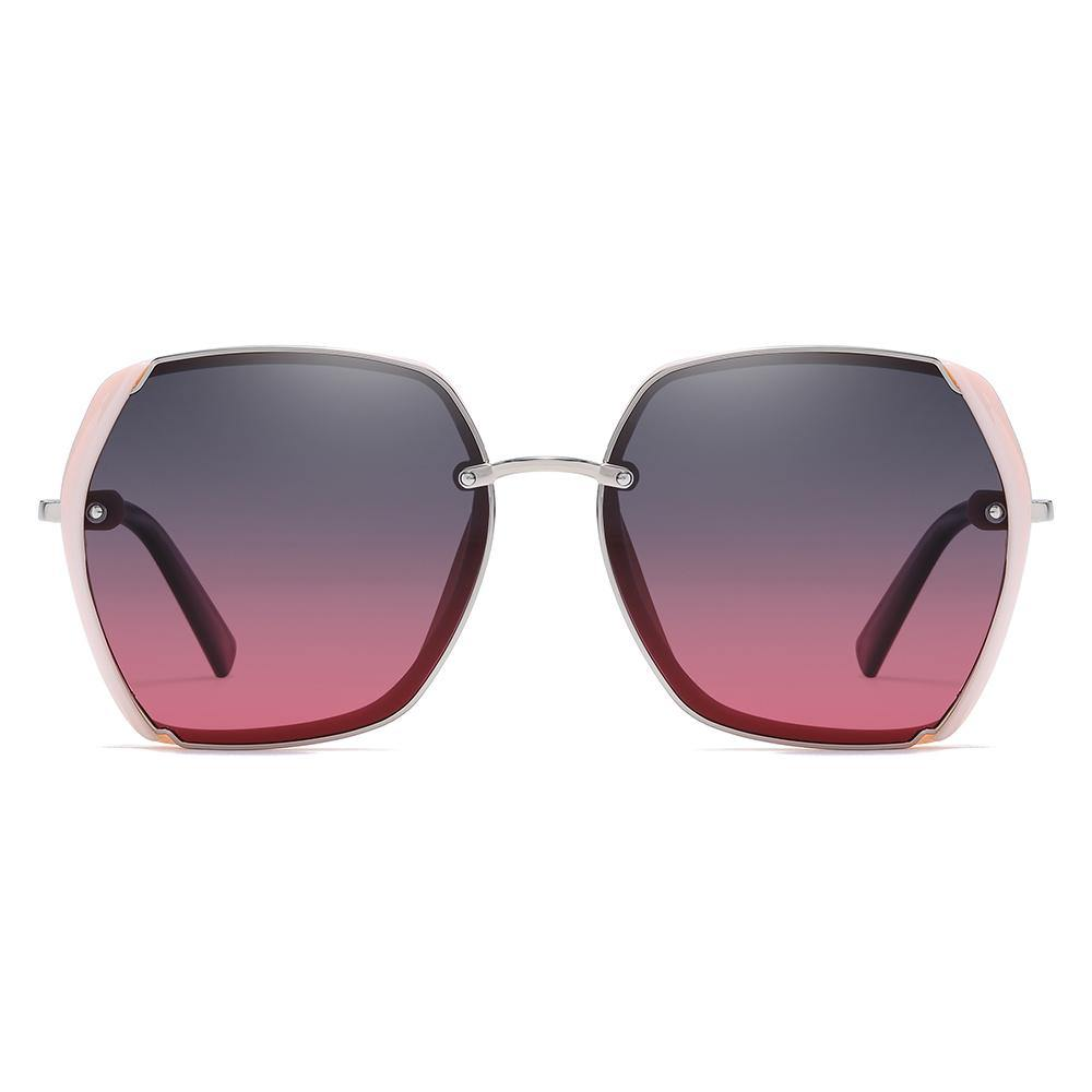 gray purple gradient lenses in big square frames shape with the pink side trim