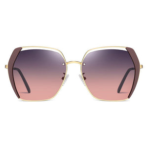 Shades in grey pink gradient lenses and gold frame