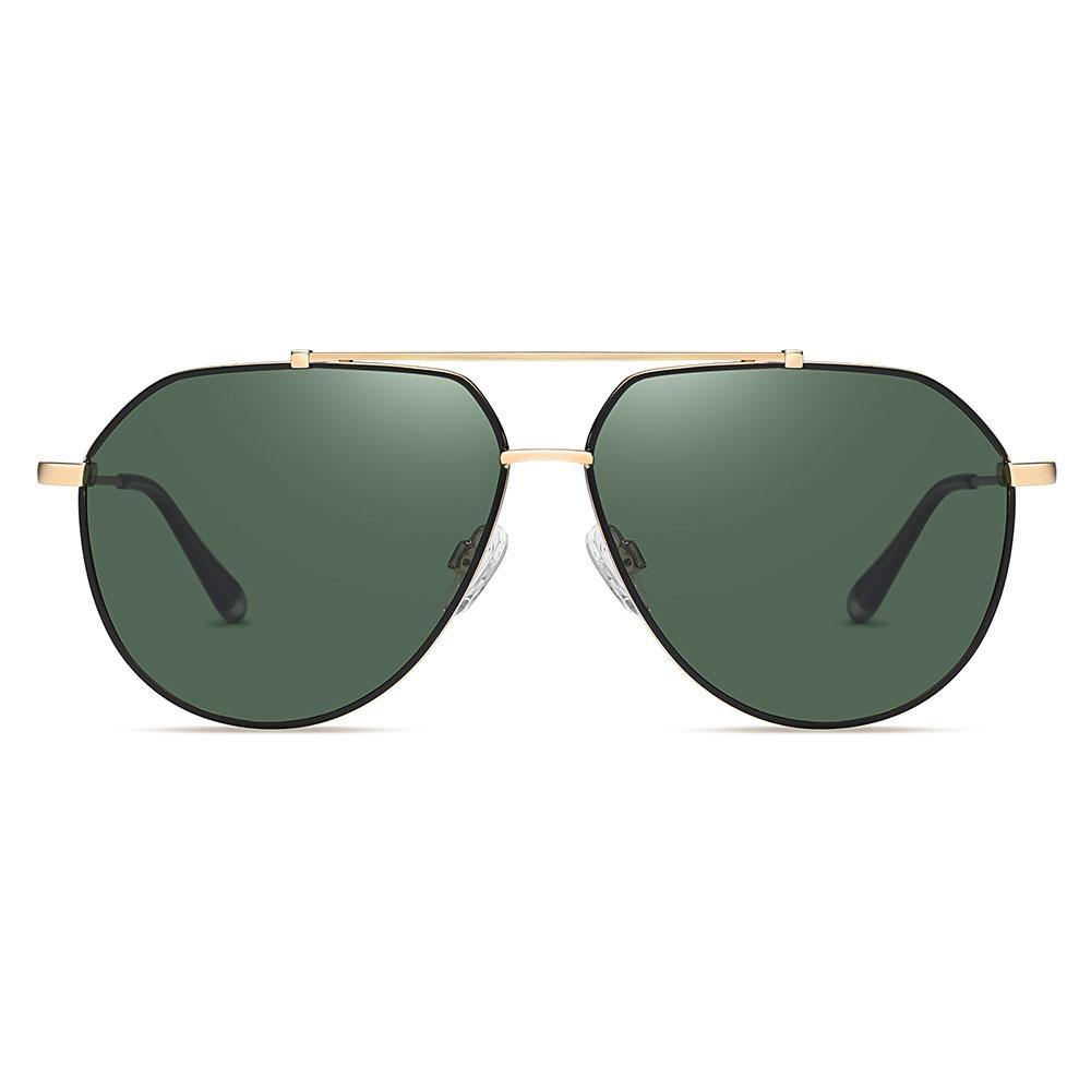 Aviator sunglasses with green lens, gold double bridge and endpieces
