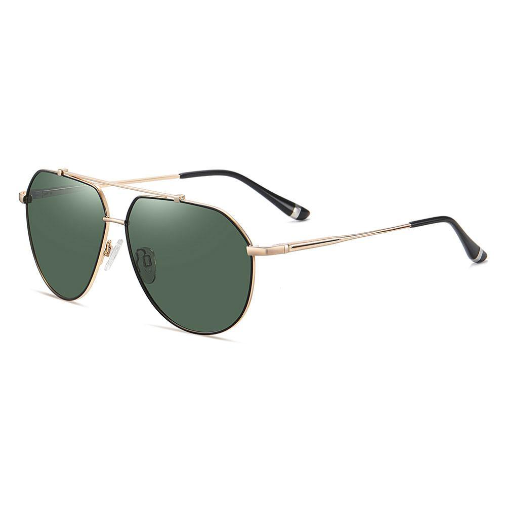 Green aviator sunglasses with gold temple arms and black ending tips