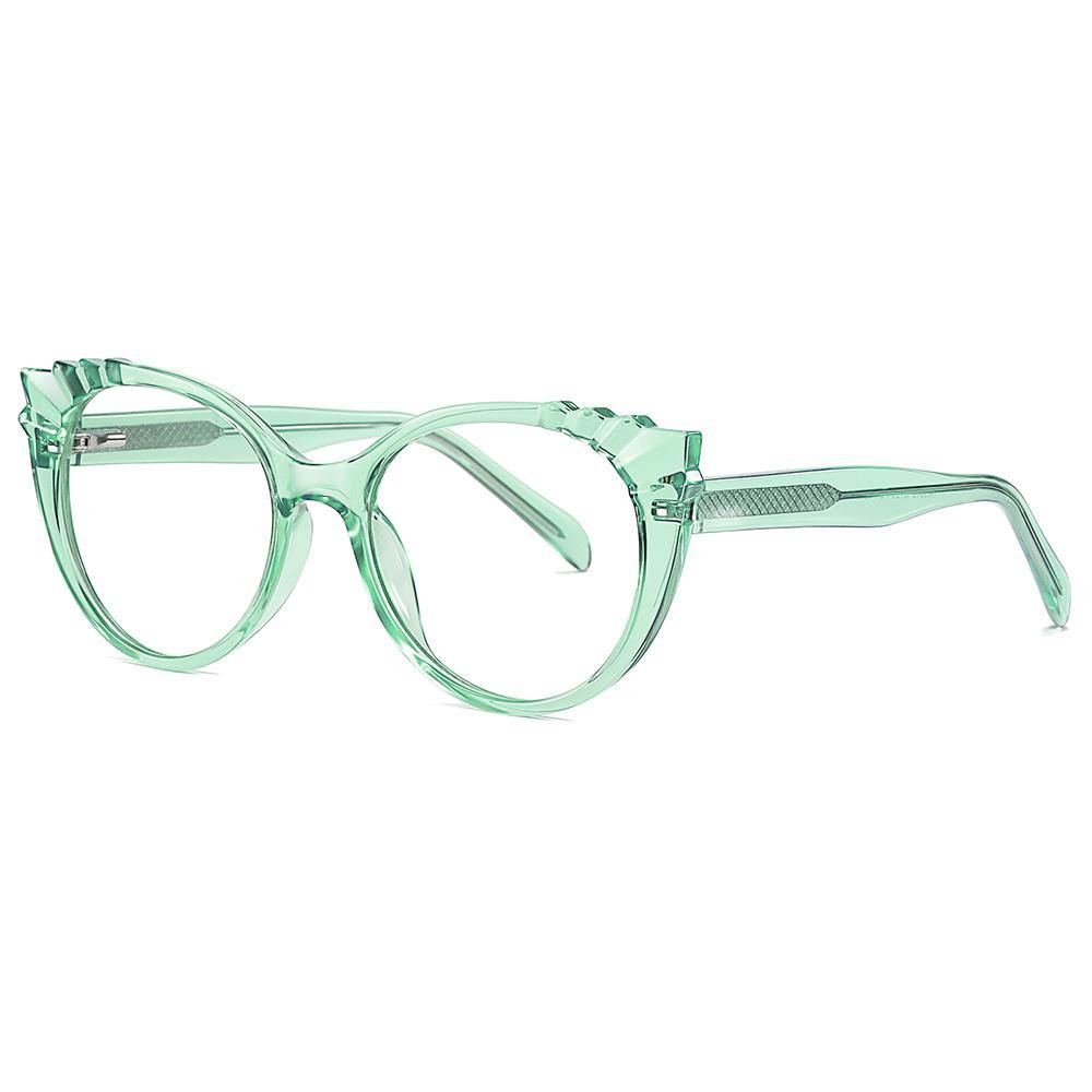 Green cat eye glasses frames and temple arms