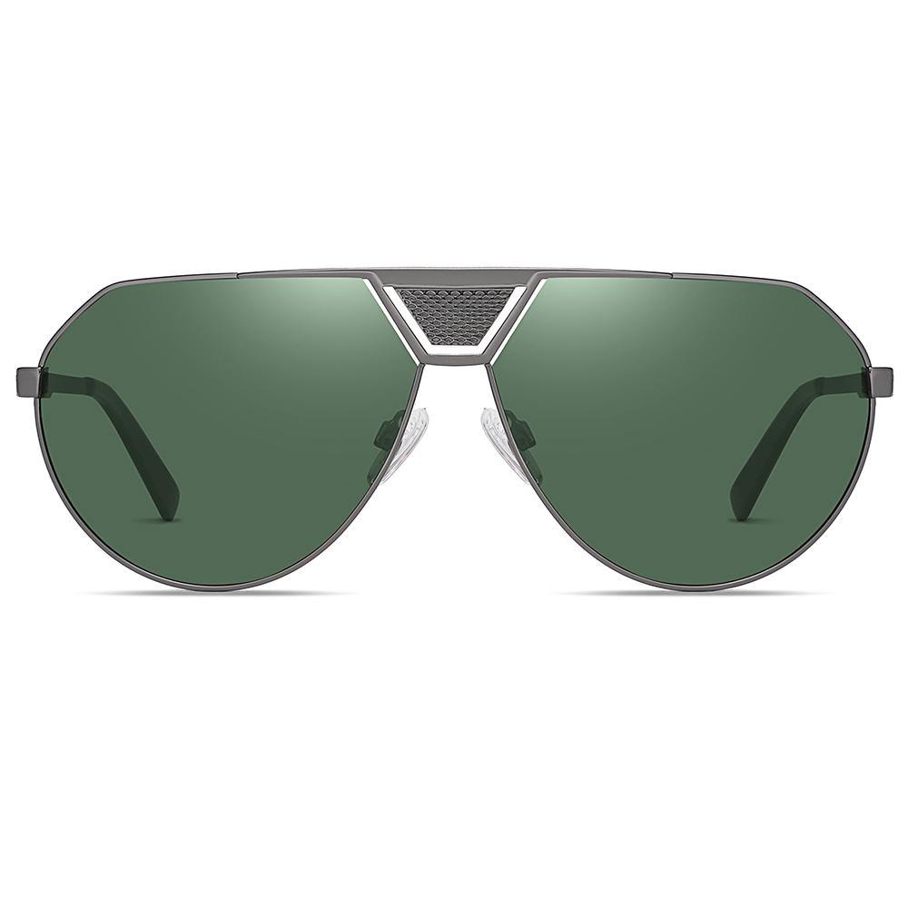 green g15 lens color, dark grey sunshades frames for men, flat top aviator style