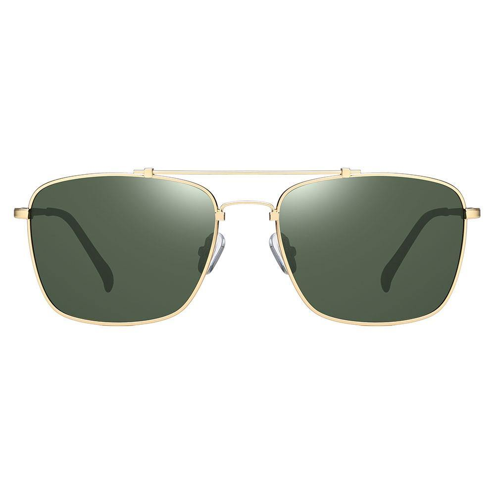 Green tinted lenses with gold trim, rectangular frame shape with g15 tinted lenses
