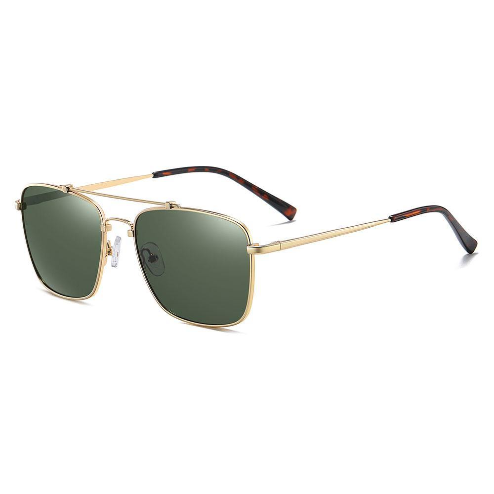 green tinted lenses in rectangular frame shape, gold temple arms with tortoise ending tips