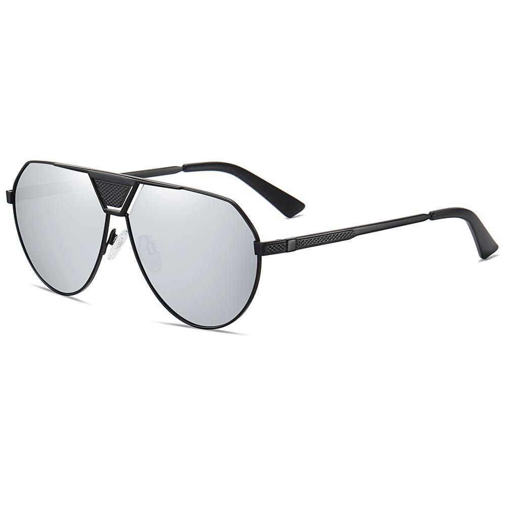 side view of big aviator sunglasses in grey lens color, black frame and temple arms