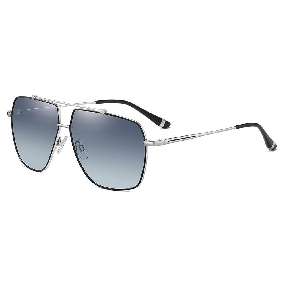 Square aviator RX shades with gray gradient lens, silver temple arms and black ending tips