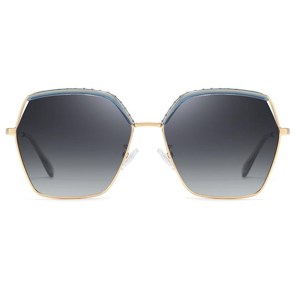 grey gradient lens in octagon shaped frames with gold trimmed