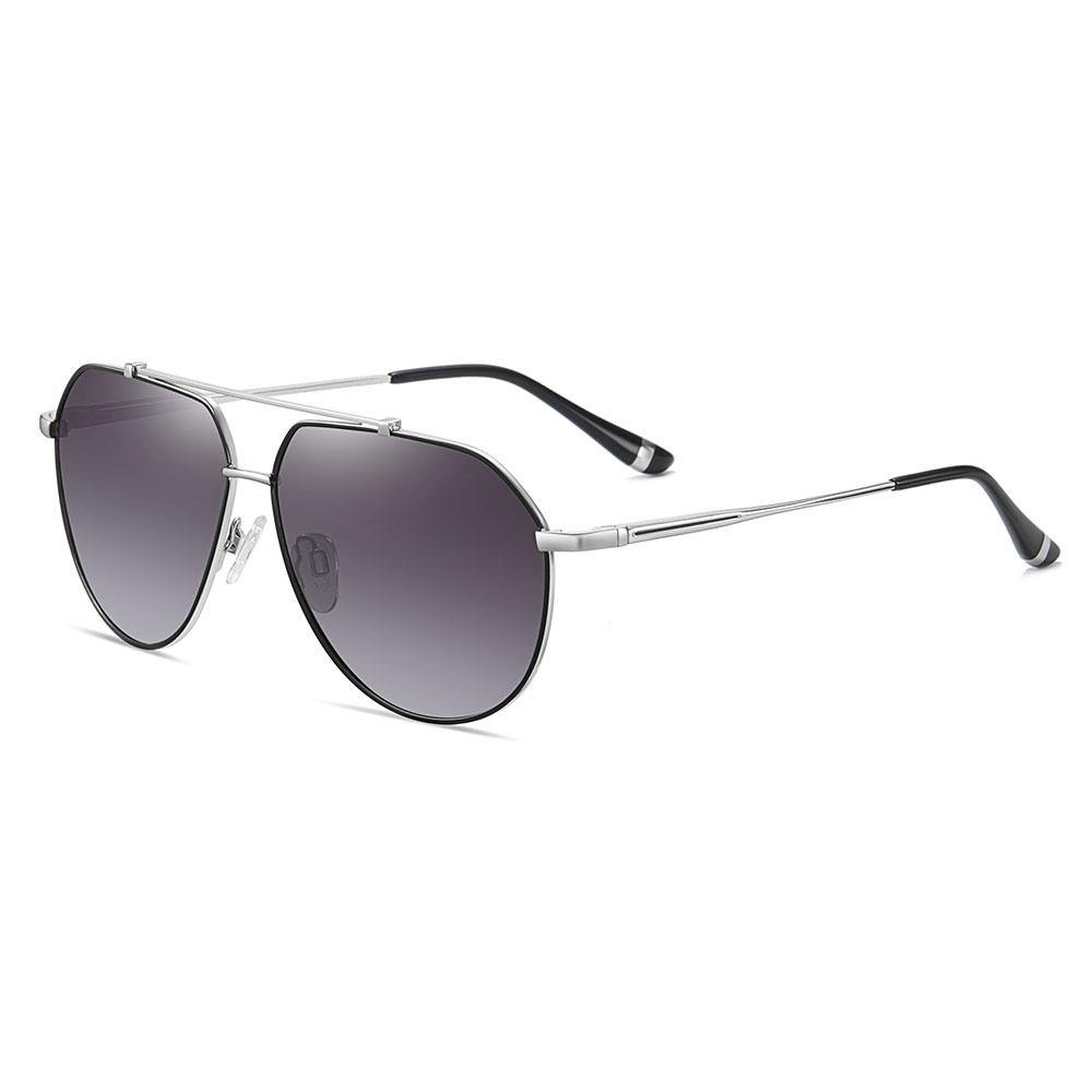 Purple gradient sunglasses trimmed with black, silver temple arms and black ending tips