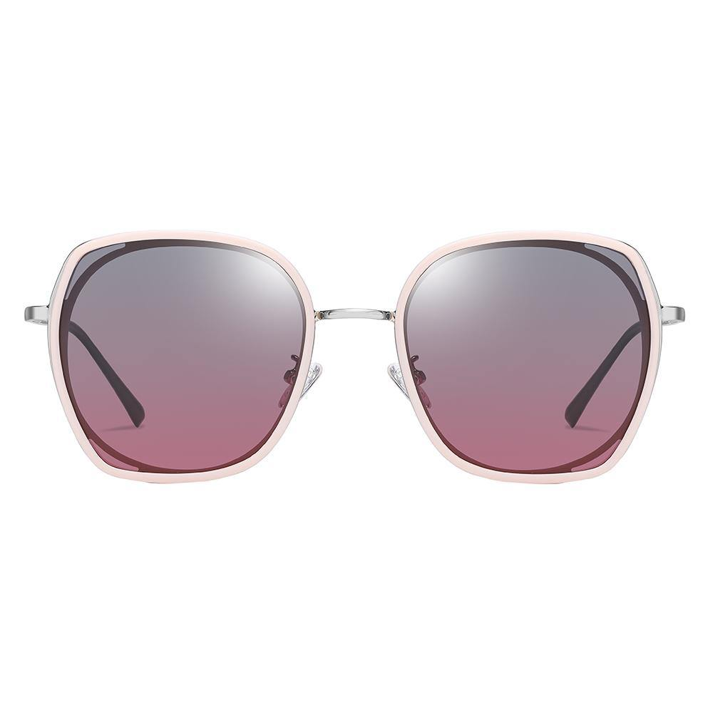 grey purple gradient lenses trimmed in pink color