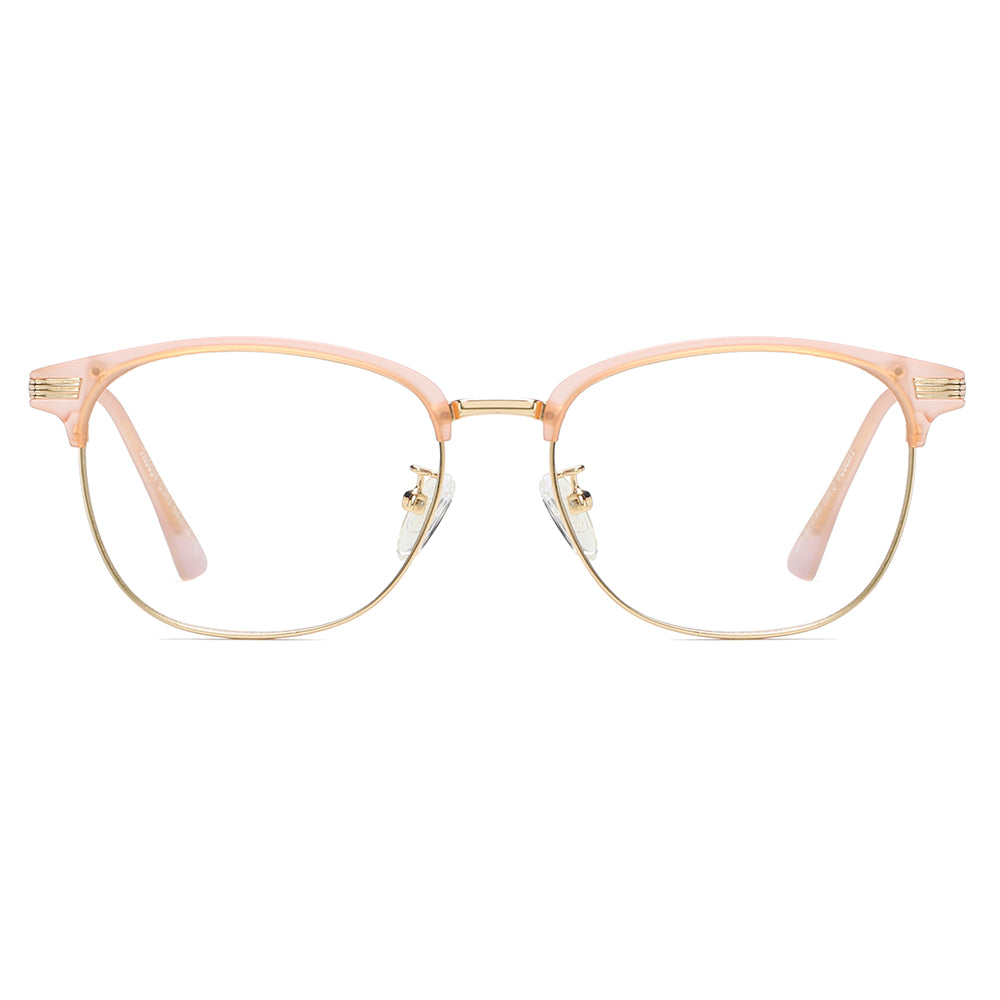 pink browline part frames, rose gold bottom frames and bridges