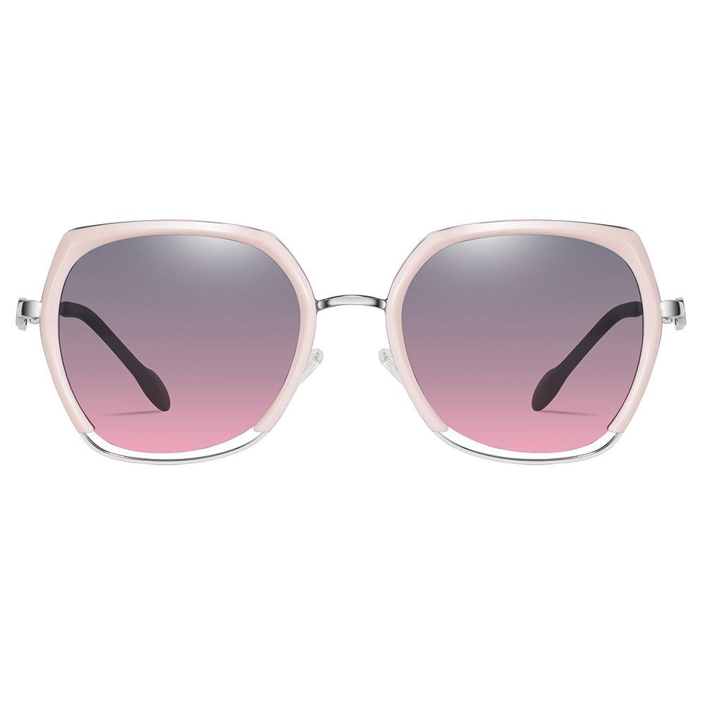 hexagon sunglasses with purple gradient lens,  top pink trimmed and bottom silver trimmed