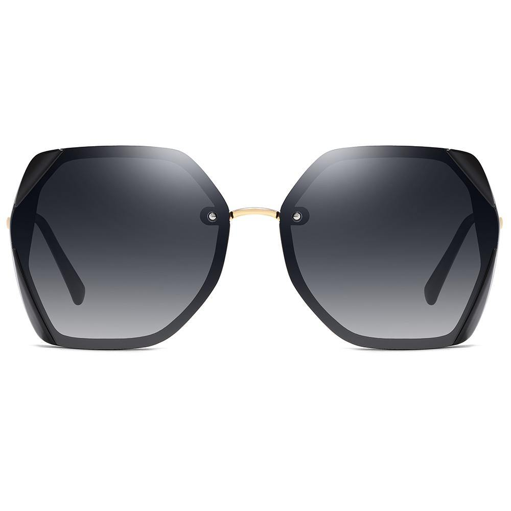hexagon shape sunglasses with gold nose bridge, black lens