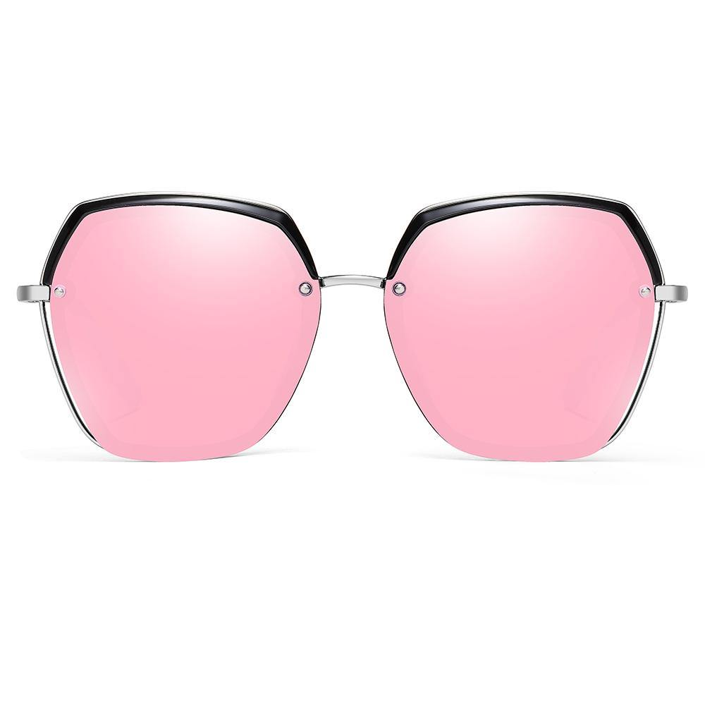 hexagon sunglasses in pink lens tint