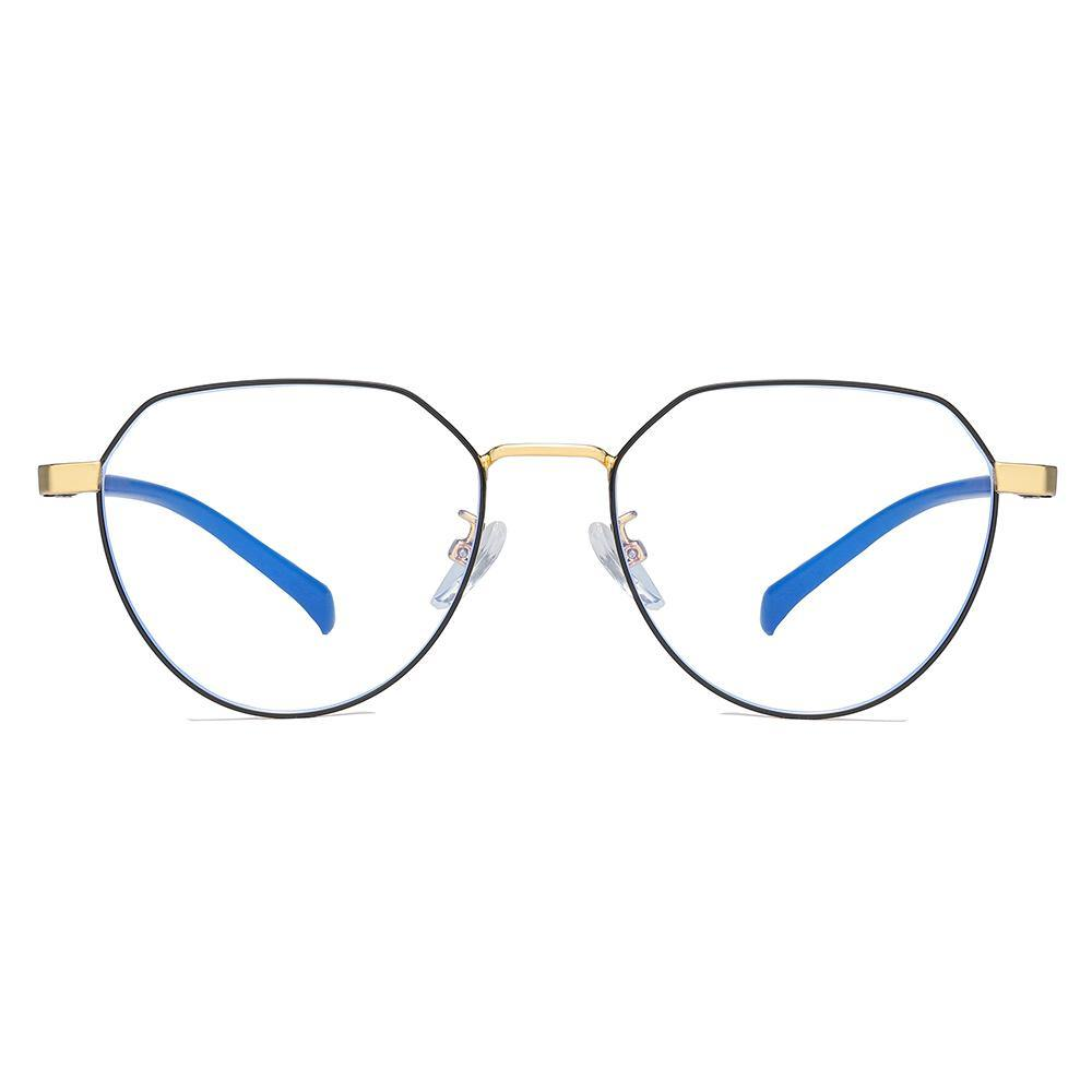 Black frame round eyeglasses with gold bridges