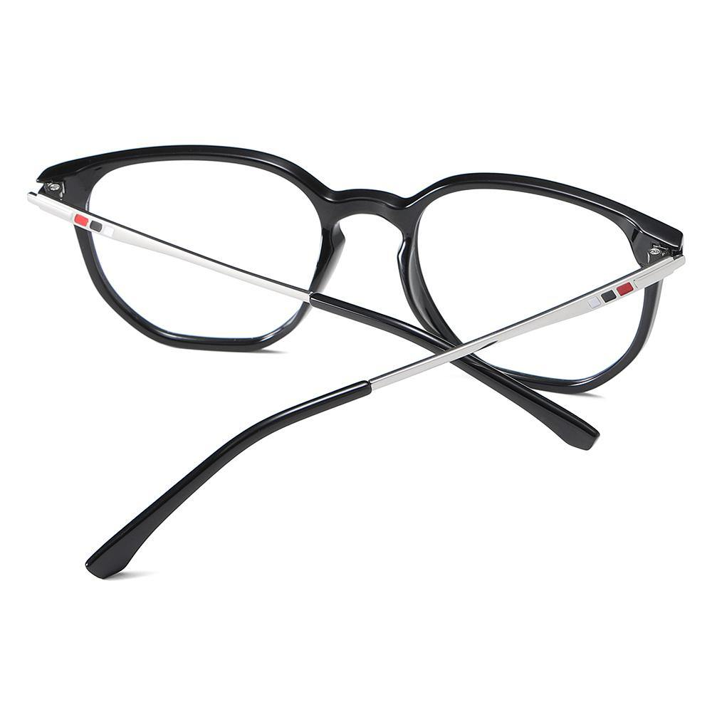 black frames in square round shape, silver temple arms with black ending tips