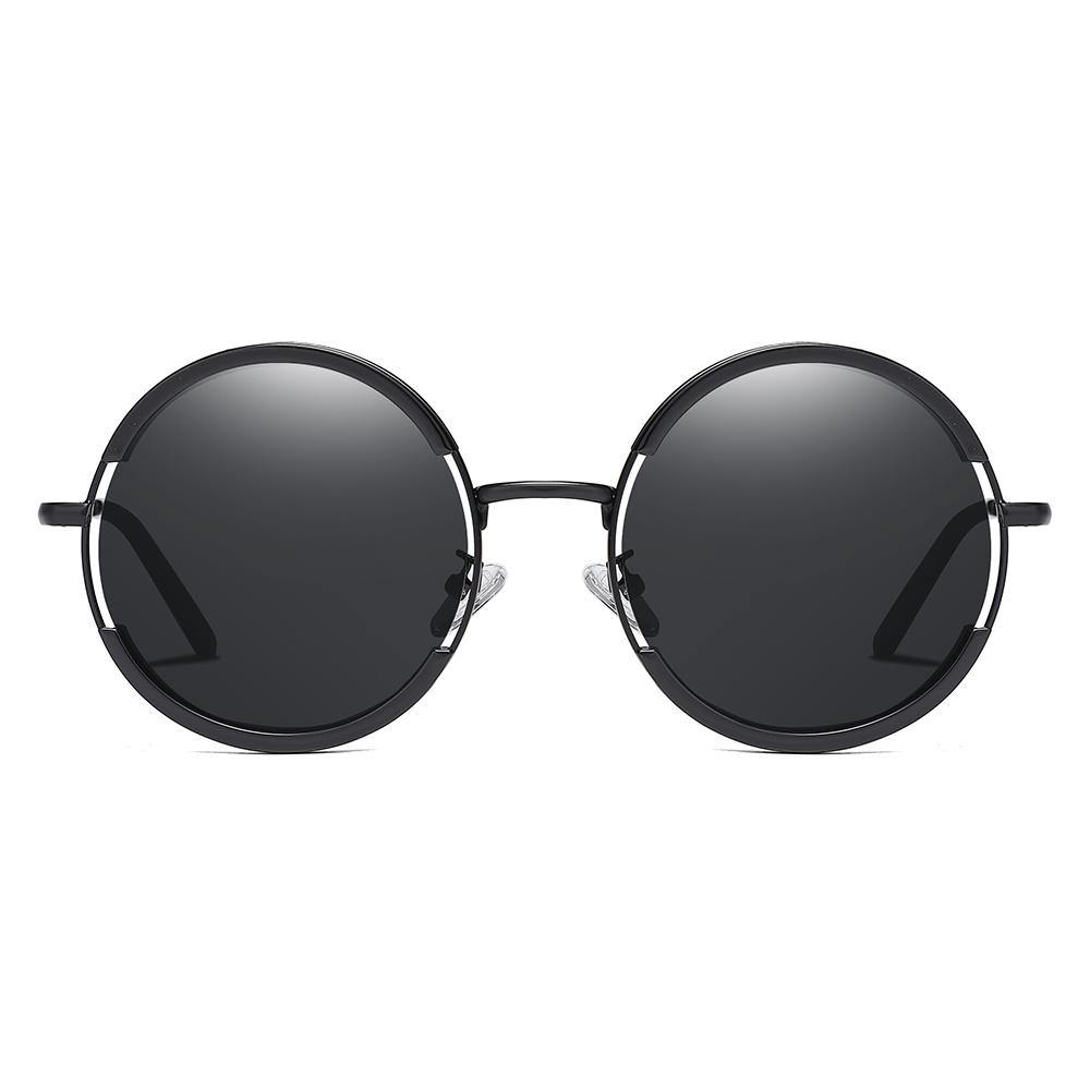 lennon round shades, black frame lenses and nose bridge