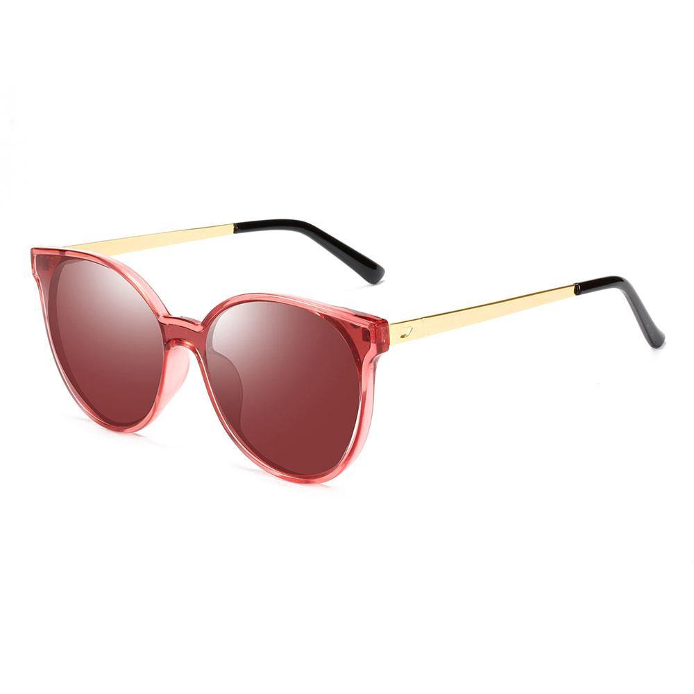Round jam red sunglasses, slight cat eye style