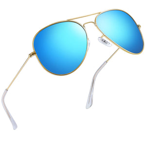 Joopin Classic Sunglasses for Women MenMetal_Frame_Mirrored_Lens_Designer_Polarized_Sun_glasses_UV400_blue