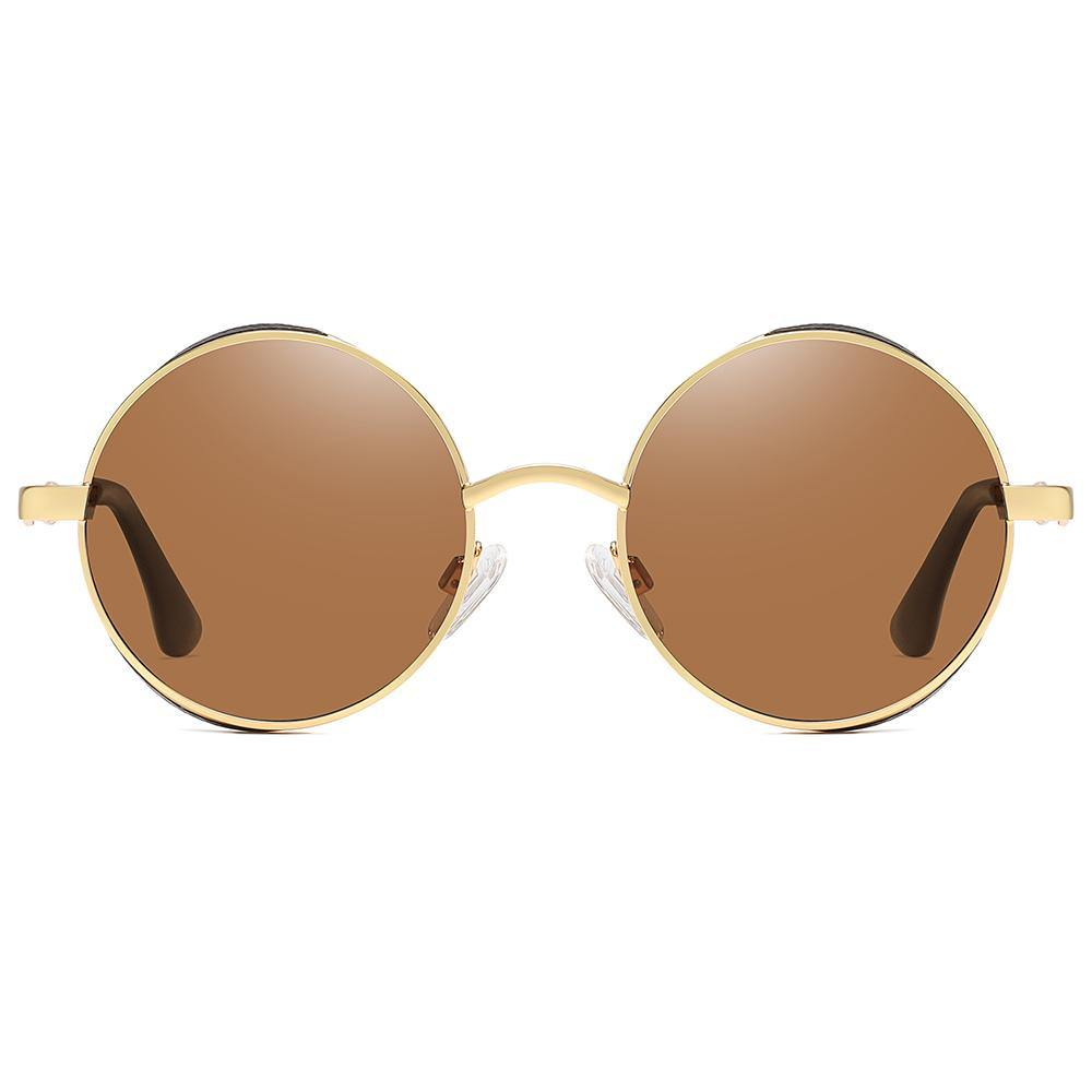 John lennon round sun glecks with amber tint lens and gold rimmed
