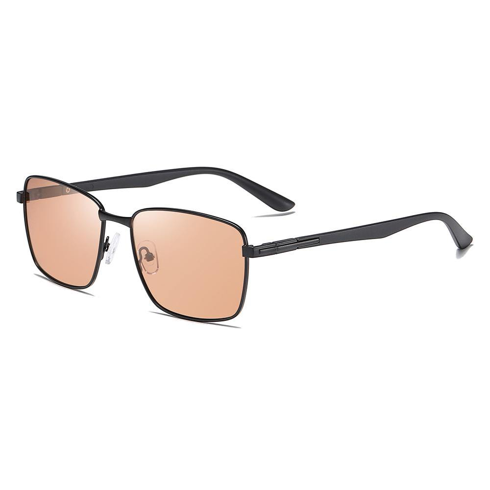 Rectangular sunglasses with Light brown tinted lens, with black trimmed