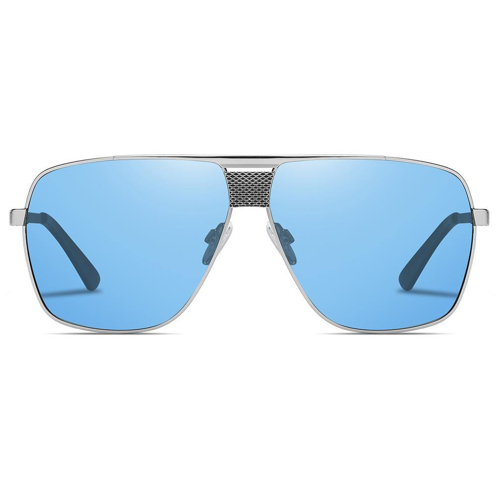 light blue tinted lens shaped in big square frame and flat top style