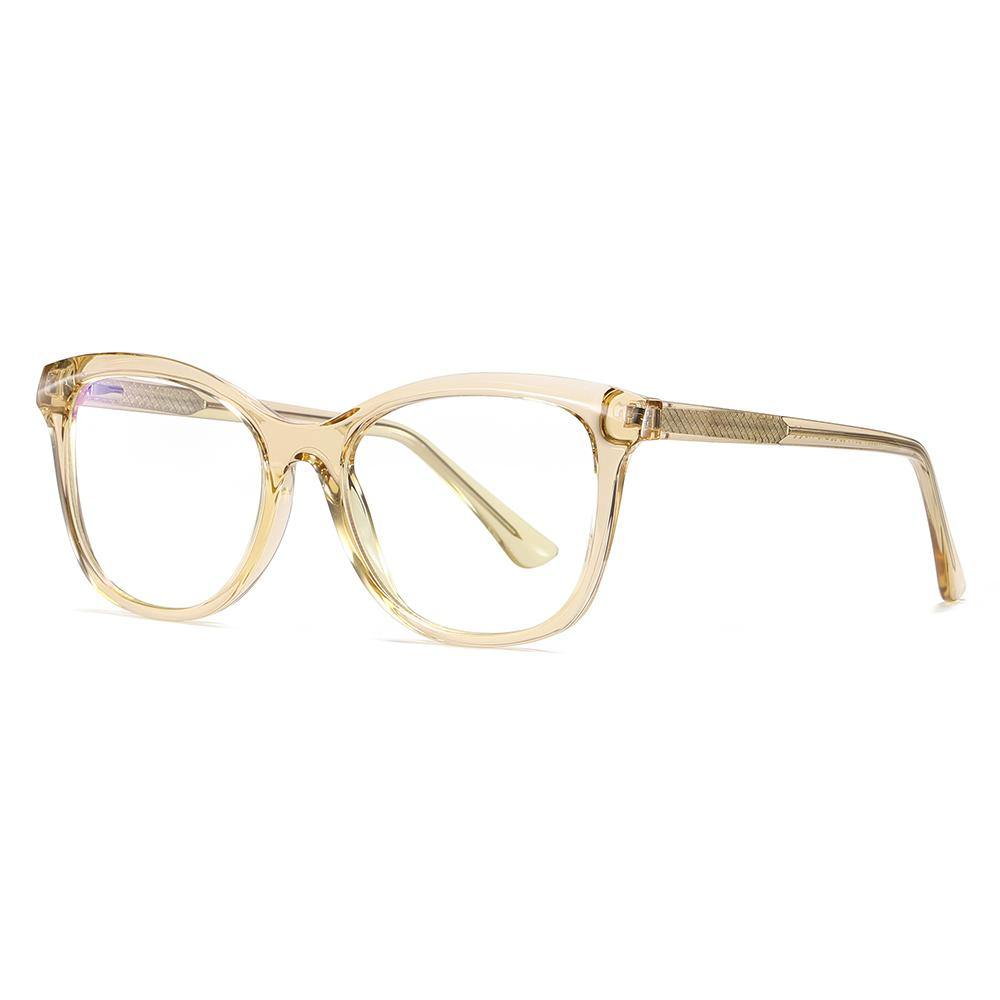 light brown eyeglasses square frame shaped, champagne frame and temple arms