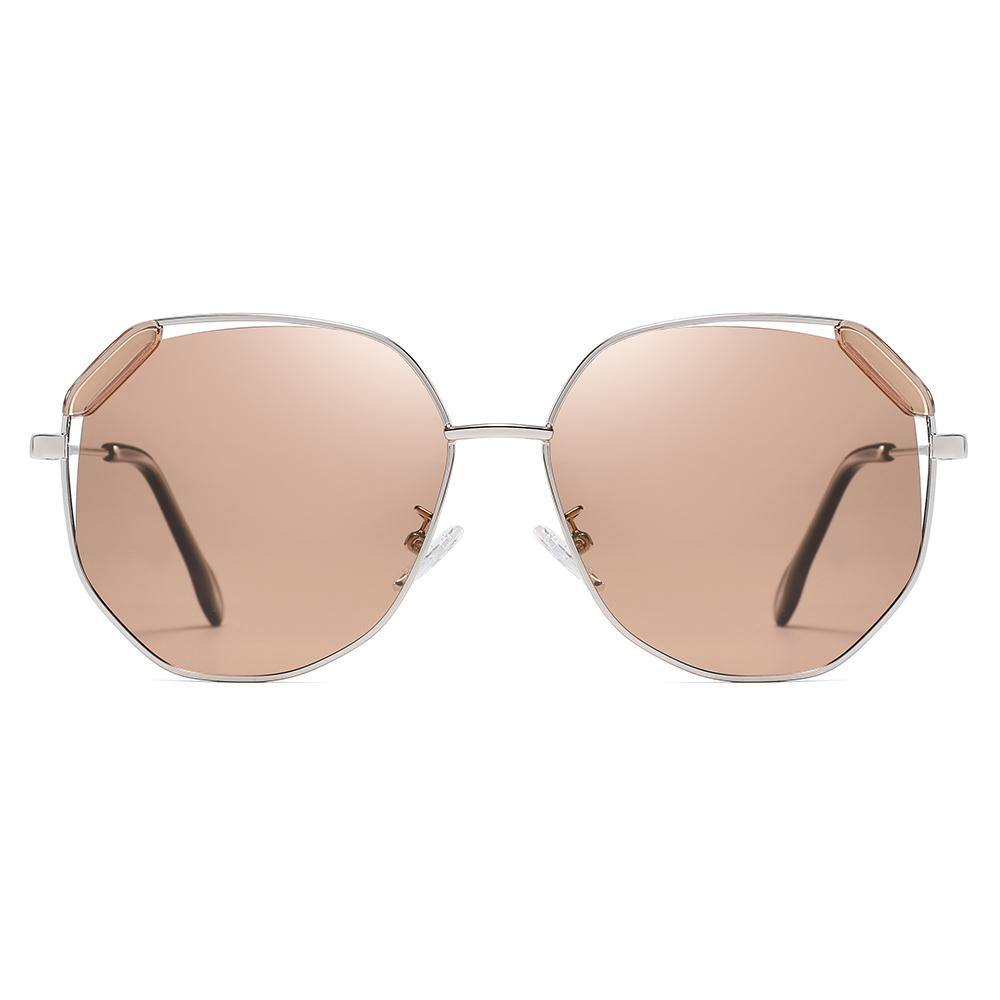 light brown hexagon sunglasses silver frame for women