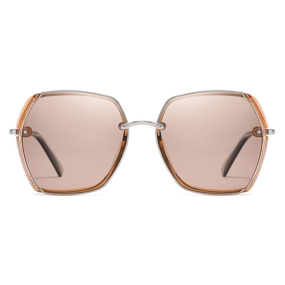 light brown tinted lenses inbig square shape with silver frame finishing