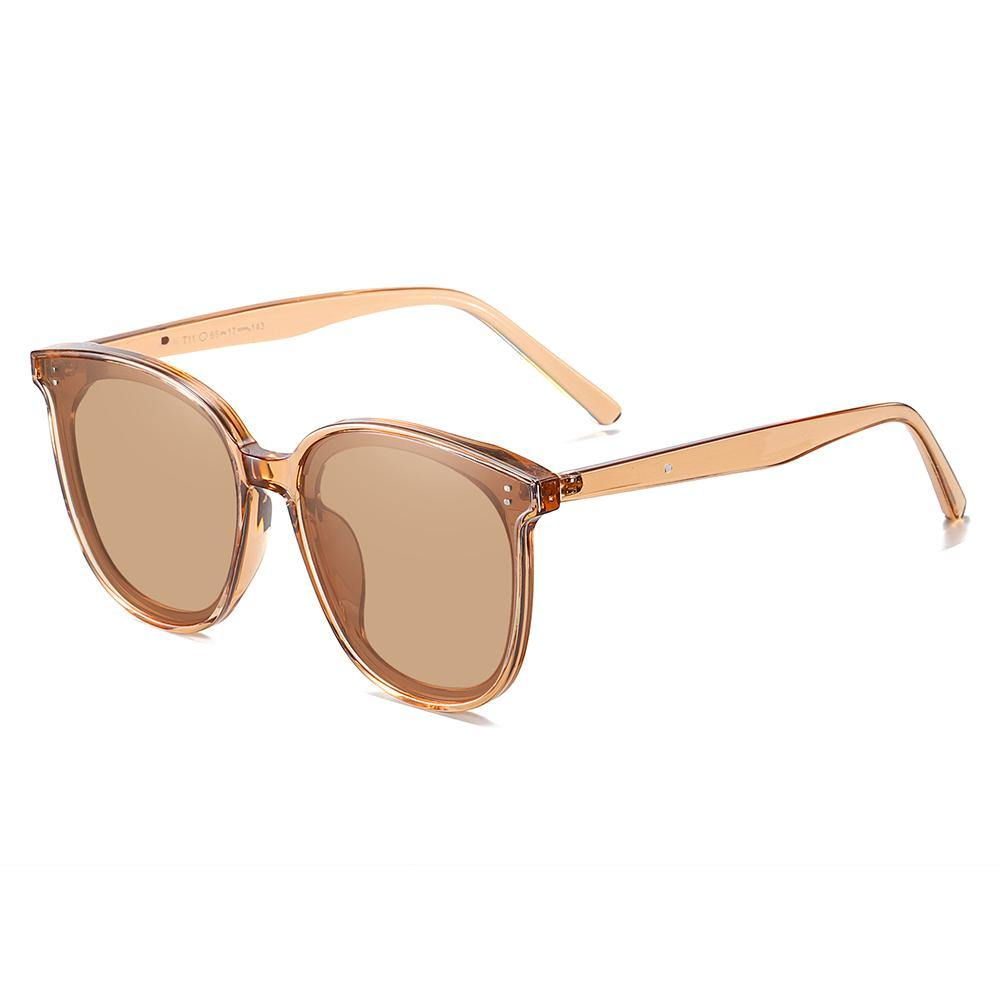 Side view of square sunglasses, brown colors