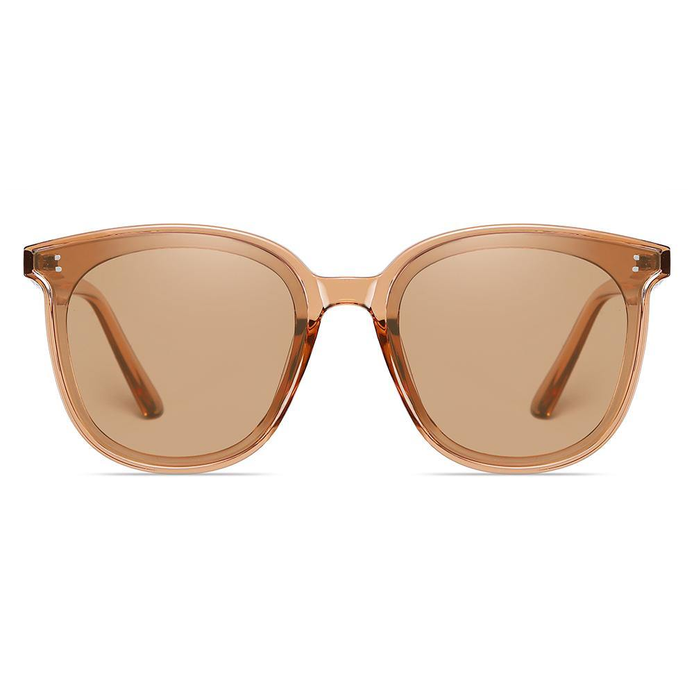 Light brown tinted sunglasses in round square shape