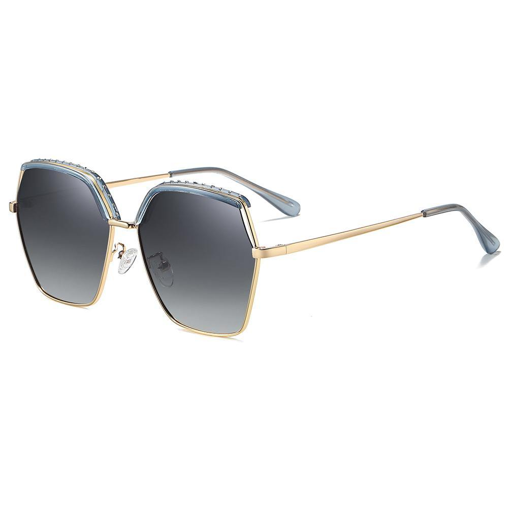 light grey gradient lens color, top blue frame with bottom gold trimmed