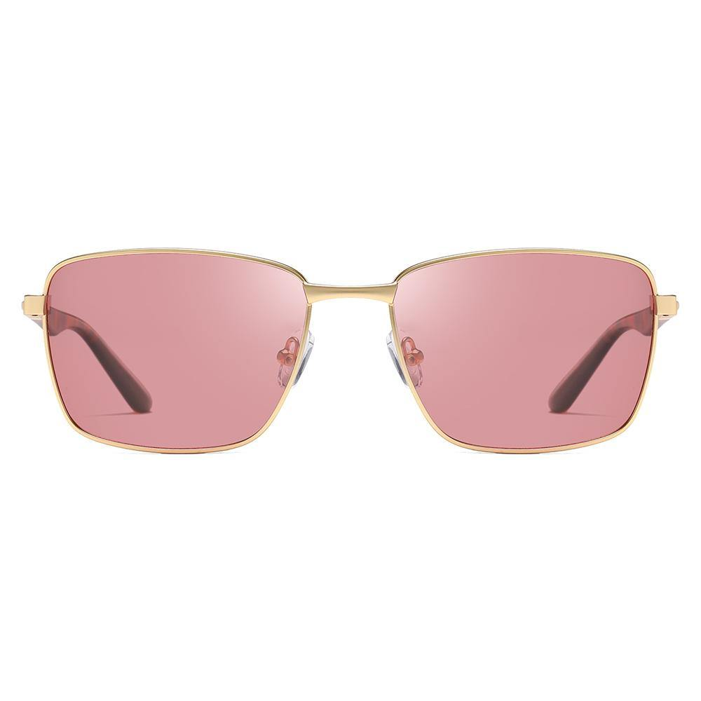 Gold trimmed rectangular sunglasses with light pink tinted lens