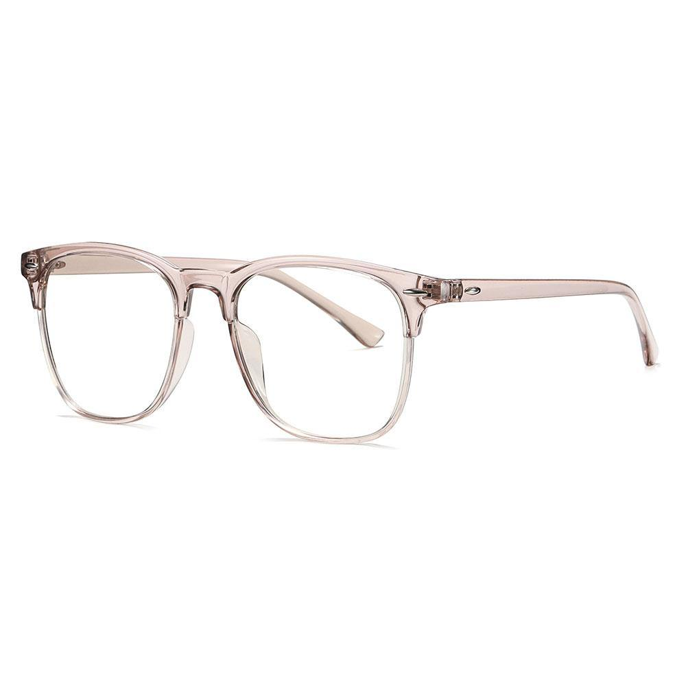 light pink square eyeglasses with thin pink temple arms