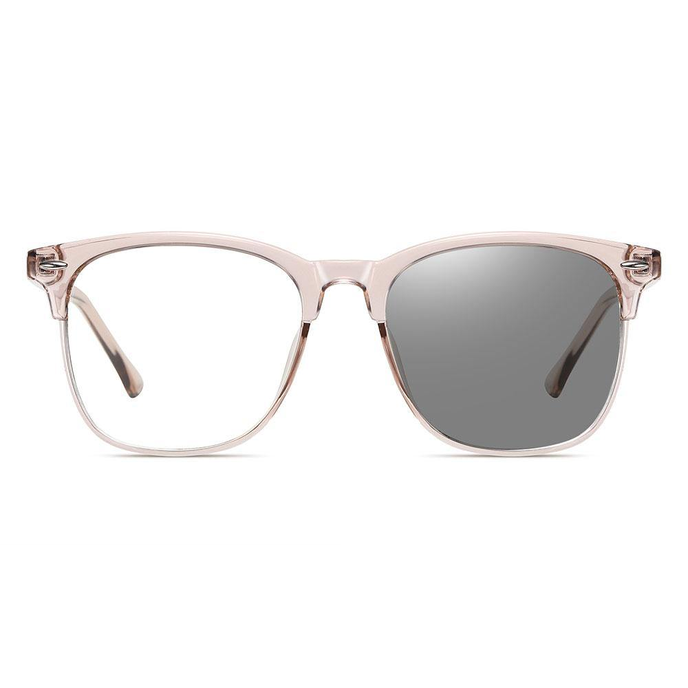 Light pink square eyeglasses with photochromic lenses