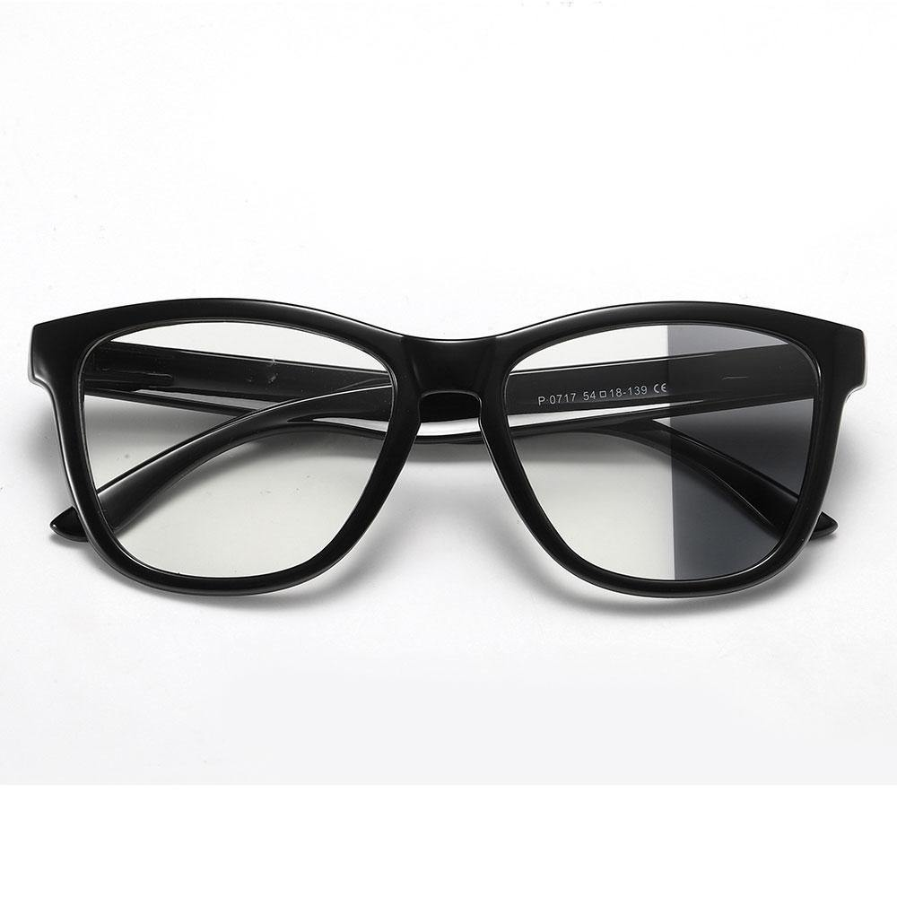 Black square eyeglasses with photochromic lenses